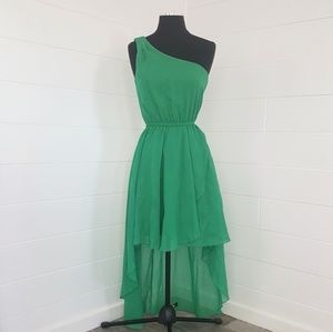 Emerald Green One Shoulder Dress